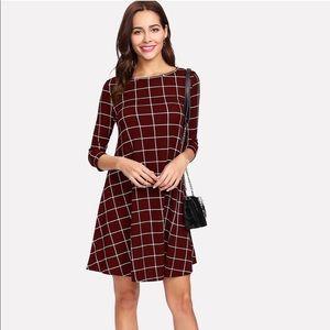 Dresses & Skirts - Burgundy Windowpane Swing Dress